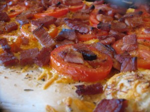 dough tomatoes ham and cheddar