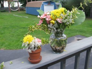 flowers in a vase and pot