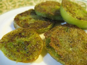 Slices of Green Tomato, Fried