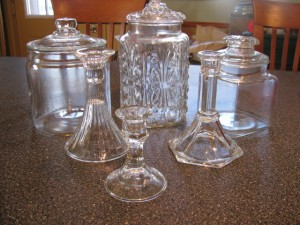Glass Jars and Candlesticks