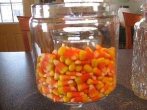 Candy Corns in Apothecary Jar