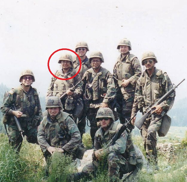 Here I am as a 1st LT in Bosnia in 1996. That's Yankee Bill standing a bit off the side. . . isn't he handsome!