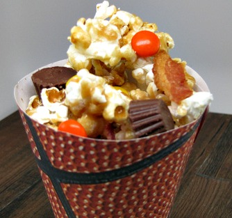 Slam Dunk Sweet & Savory Reeses Bacon Caramel Corn