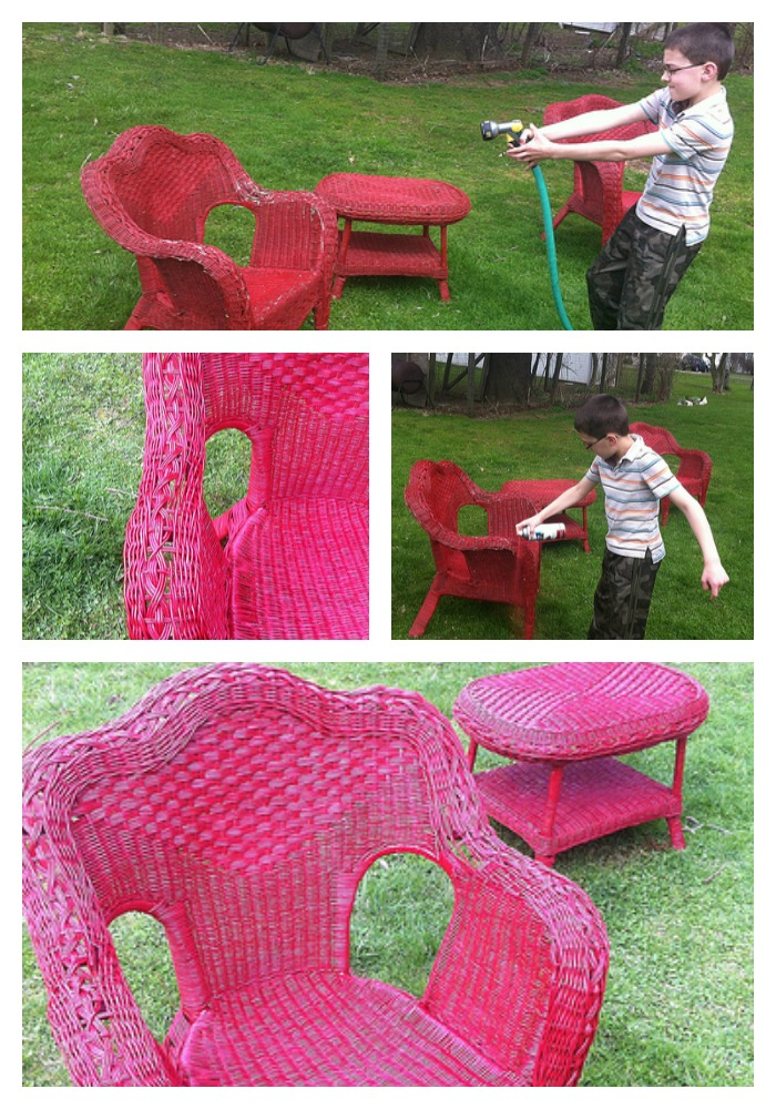 Spray Painting Wicker Furniture Red
