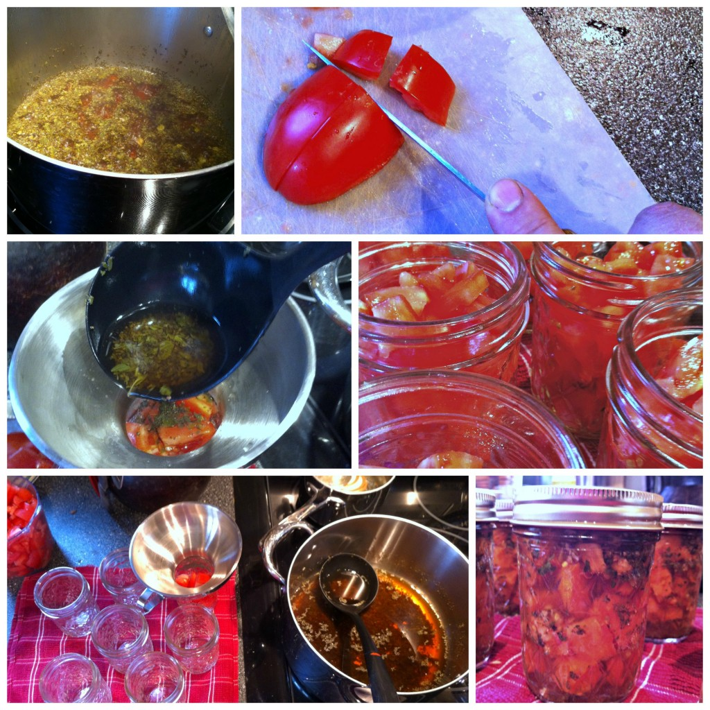 Making Bruschetta in a jar