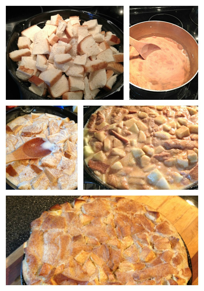 Making Apple Bread Pudding
