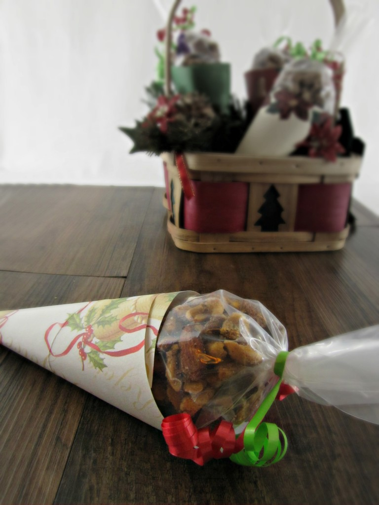 Sugar and Spice Nuts in a holiday paper cone