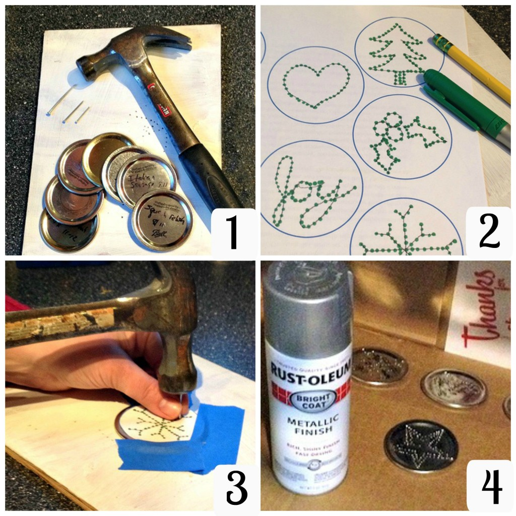 How to make punched tin ornaments from canning jar lids tutorial