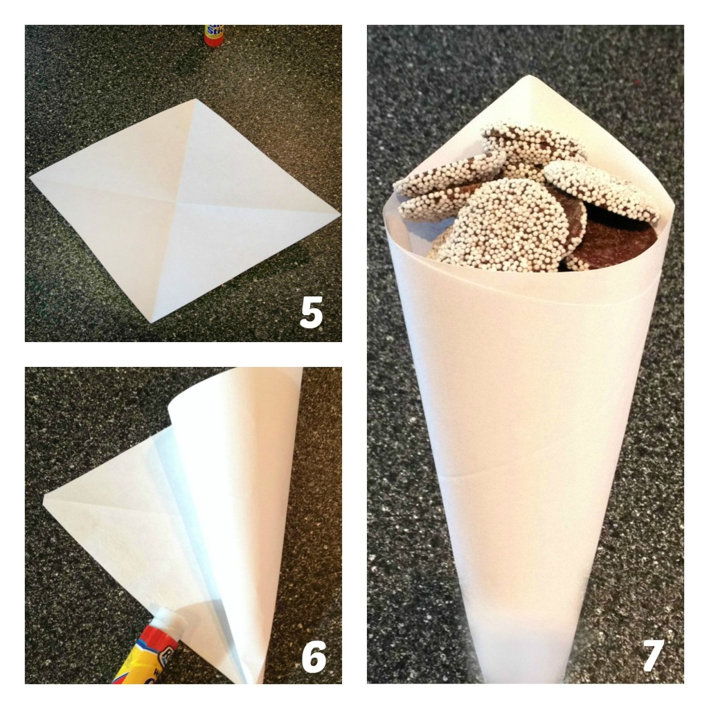 Making a paper treat cone 2