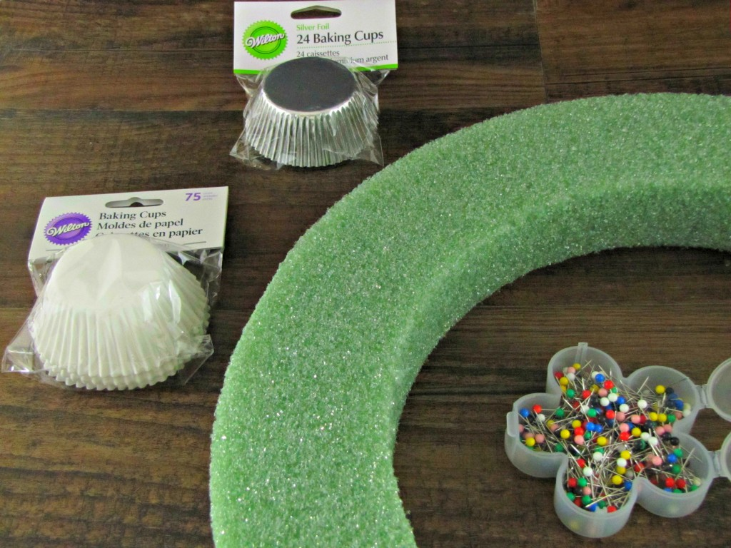 Materials for Cupcake Liner Wreath