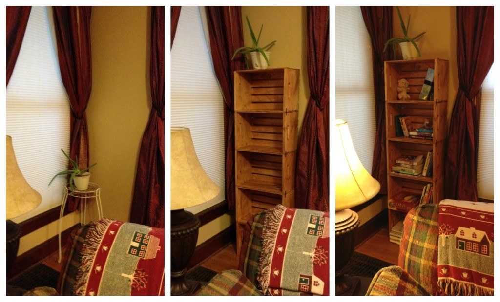 Before and after bookshelf corner