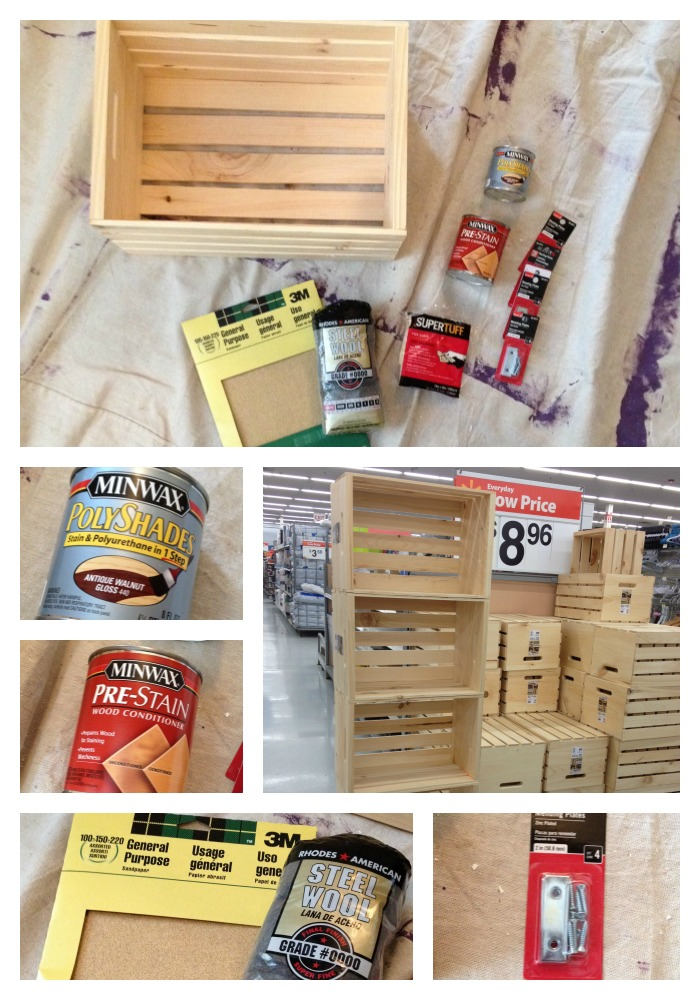 DIY Unfinished Bookshelf Crate Project Materials