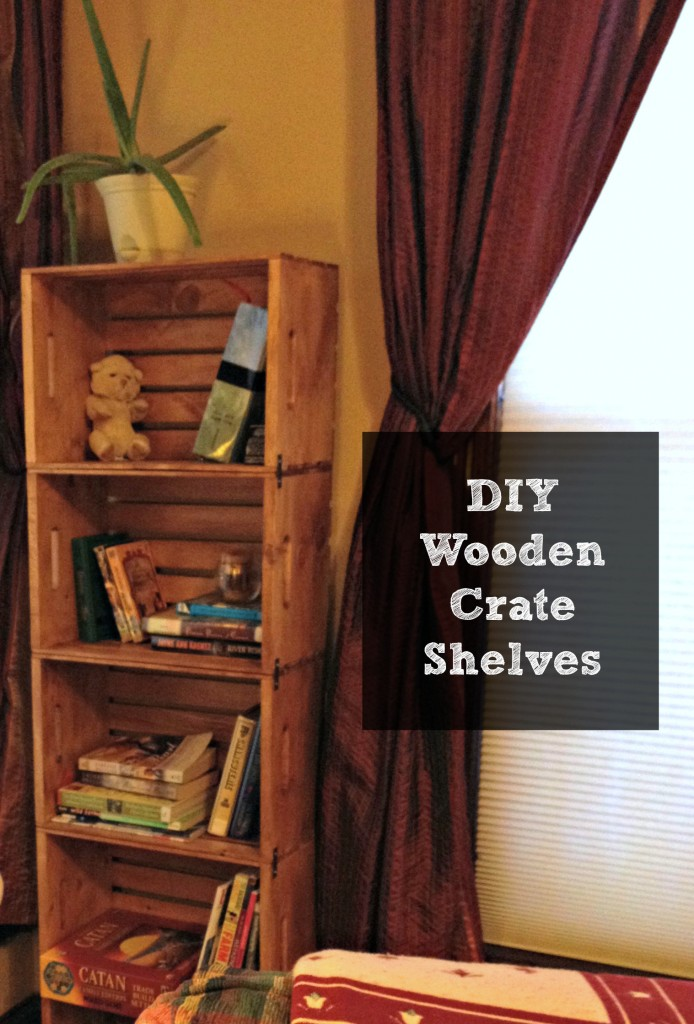 DIY Bookshelf from Unfinished Wooden Crates
