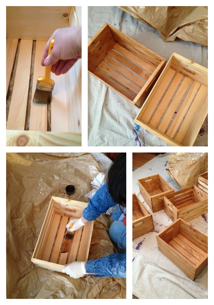 Staining Crates for DIY Bookshelf