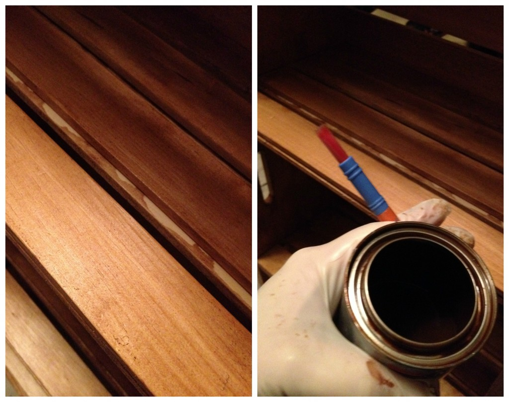 Touching up the Stain on the DIY Bookshelf from crates
