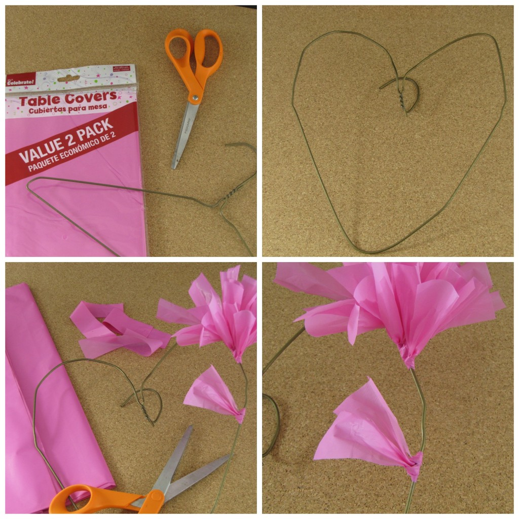 How to make a Valentines Wreath from Table Covers!
