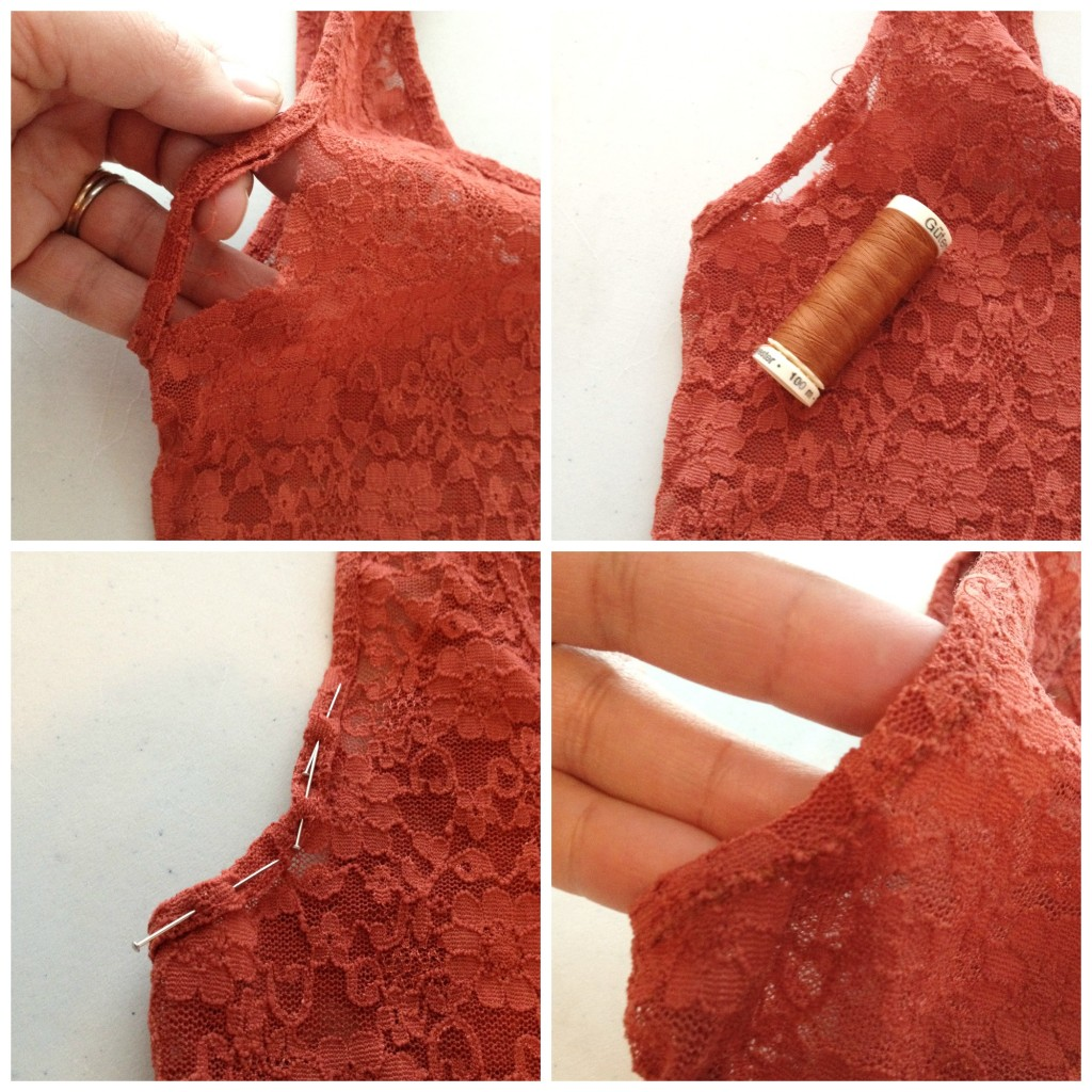 mending torn binding on a lace tank top