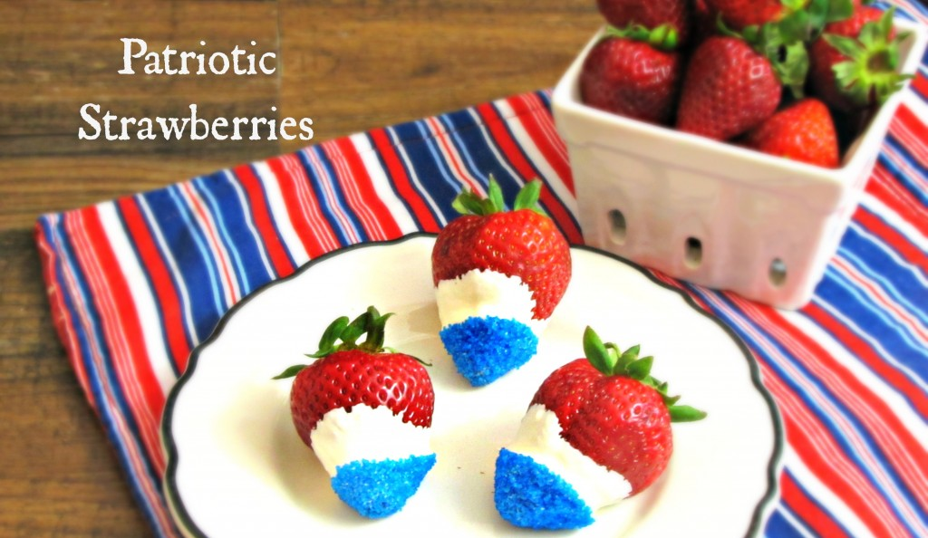 Chocolate and Sanding Sugar Dipped Strawberries - Patriotic Style!
