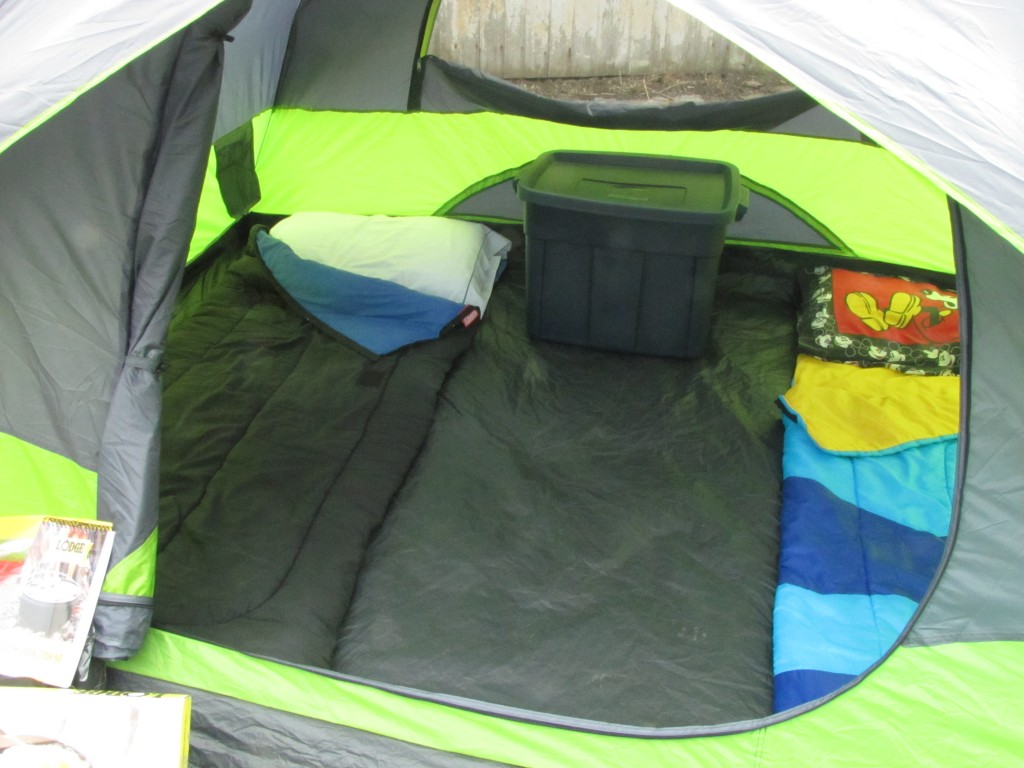 The tent is listed as a 4 person tent and if you were super friendly and slept side by side you could fit 4 sleeping bags in there. & Camping and Cooking ~ with Pancake in a Jar recipe! - Frugal Upstate