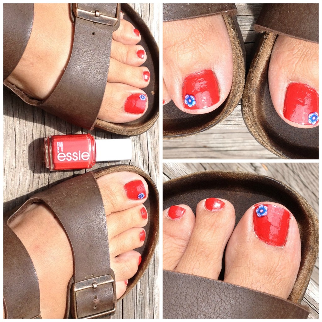 Essie Nailpolish Pedicure with flower embellishment