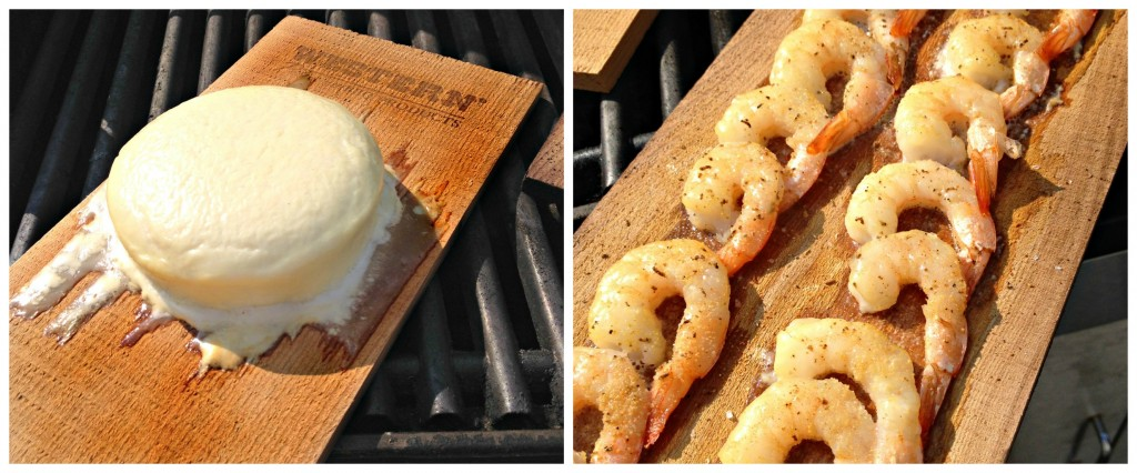 Cedar Plank cheese and shrimp at 10 minutes