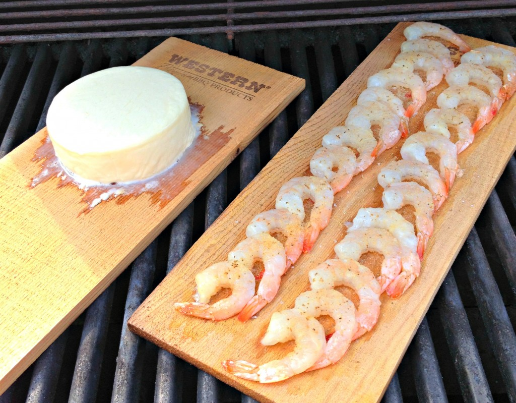 cedar planked queso fresco and shrimp at 5 min