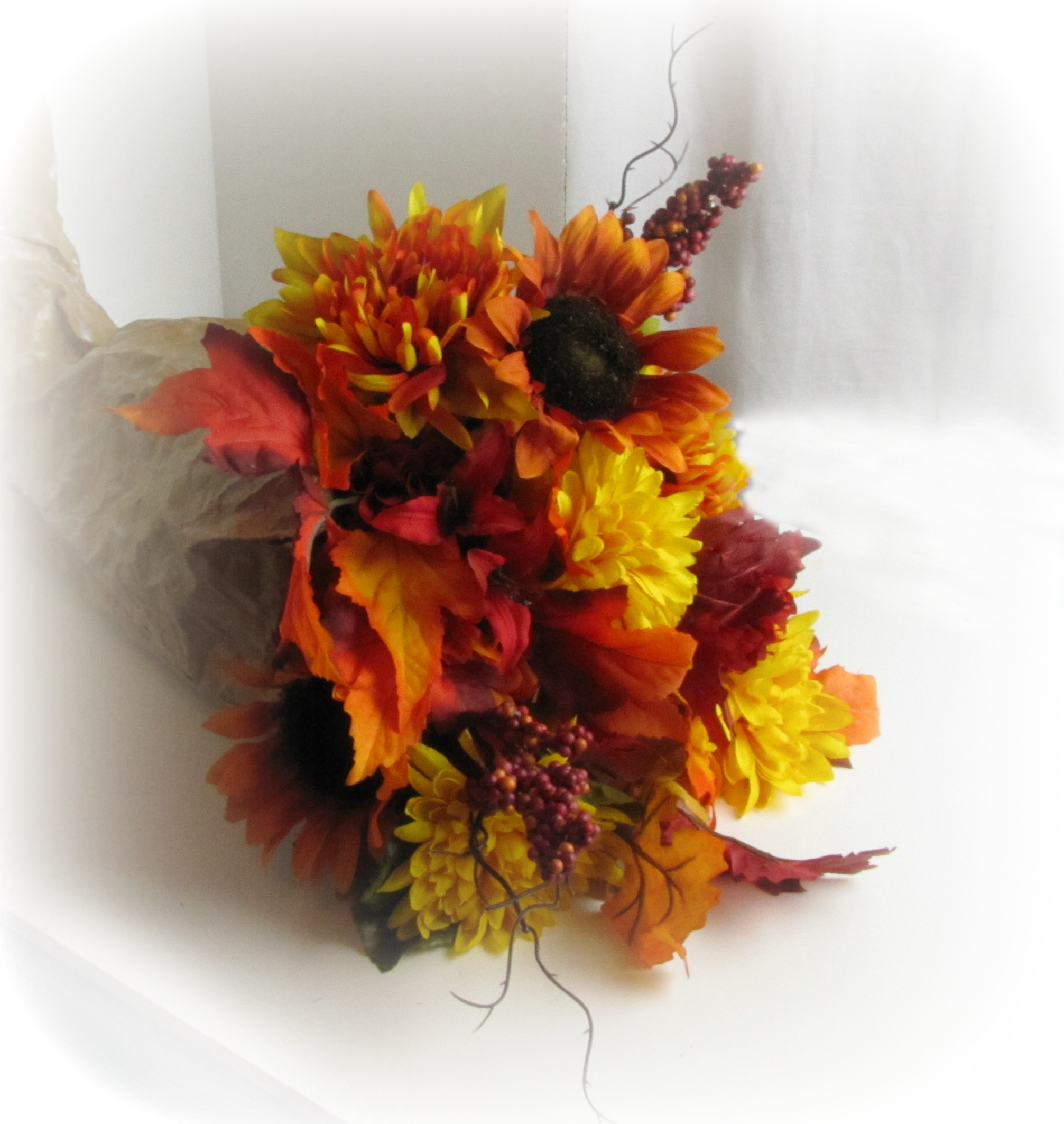 Fall Cornucopia With Silk Flowers Frugal Upstate