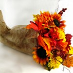 Fall Cornucopia with Silk Flowers