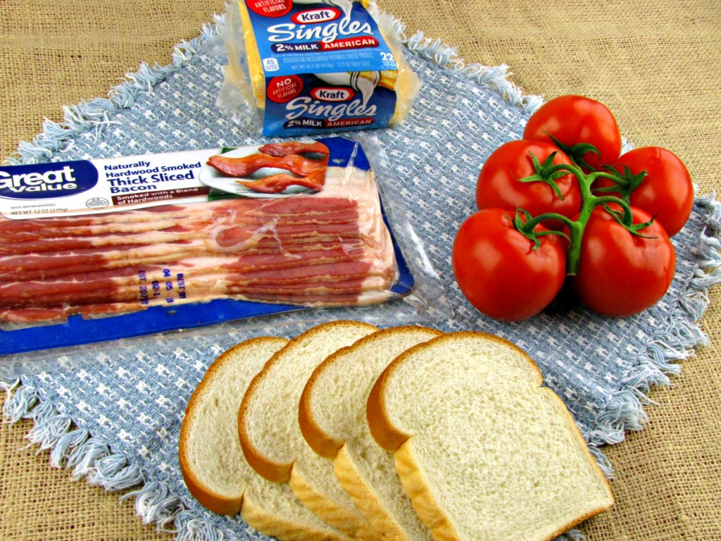 Ingredients to make Tomato Bacon Grilled Cheese Sandwiches