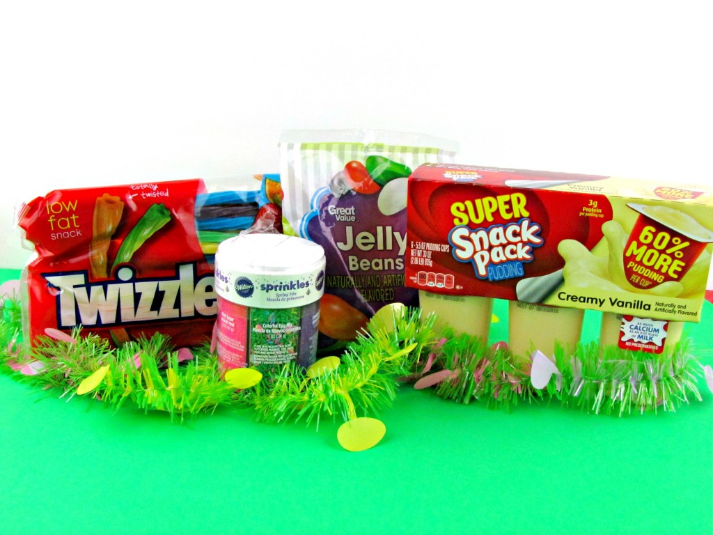 Ingredients for Snack Pack Easter Baskets