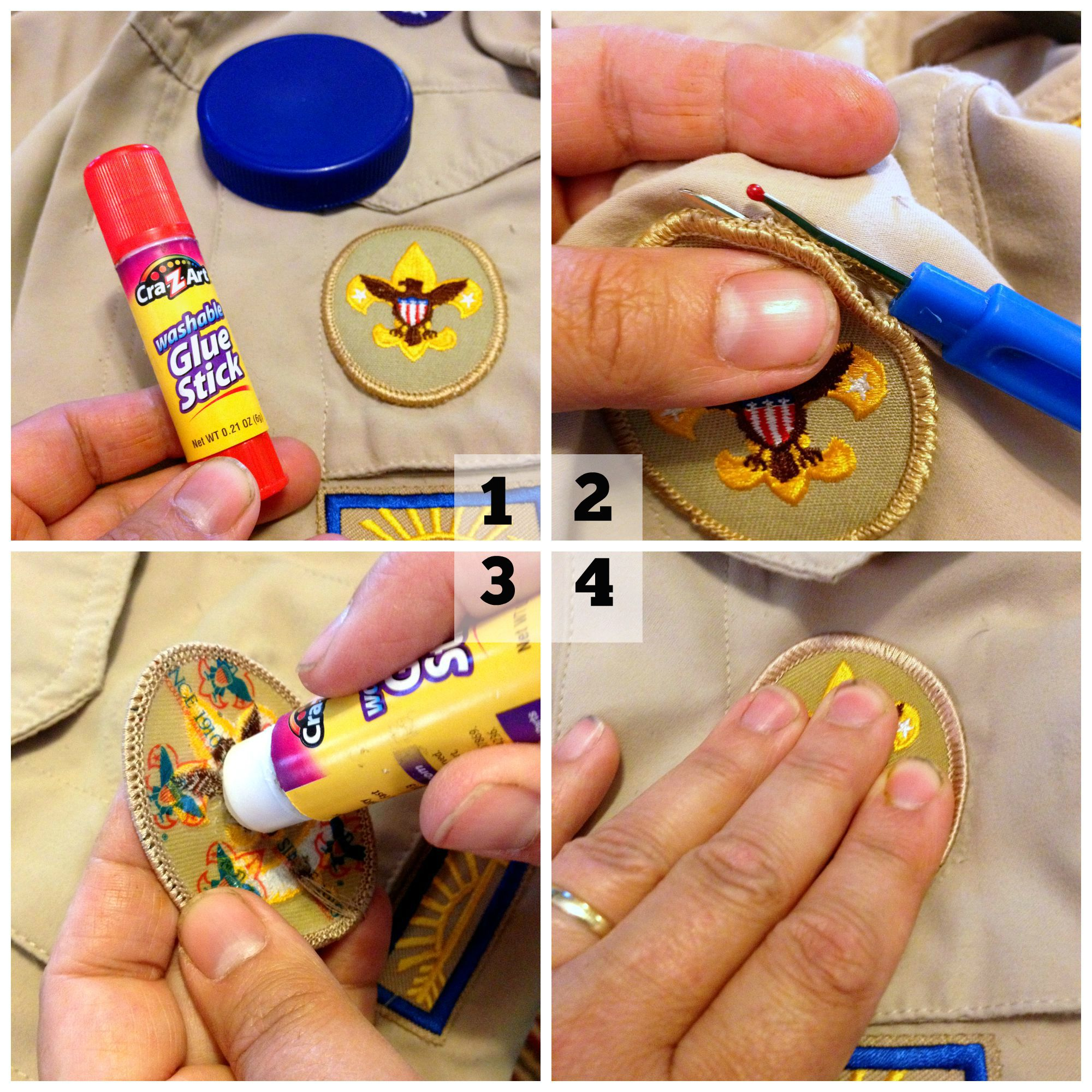 How to sew on Scout patches the easy way! - Frugal Upstate