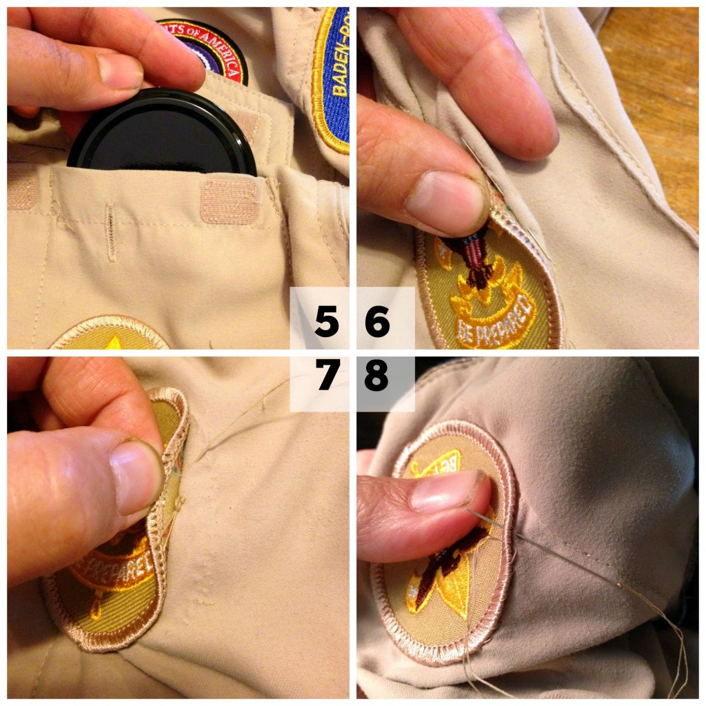 Scout patches sewn on the easy way