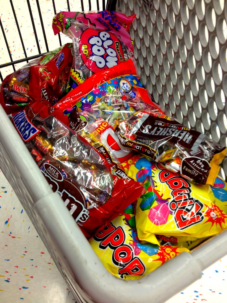 My cart of Party City Halloween Goodies