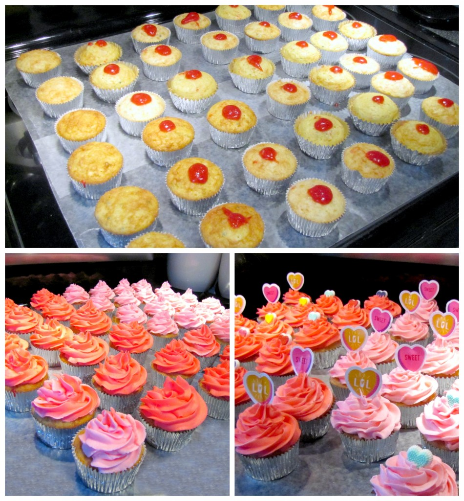 Valentines Day Cupcakes with Strawberry Filling