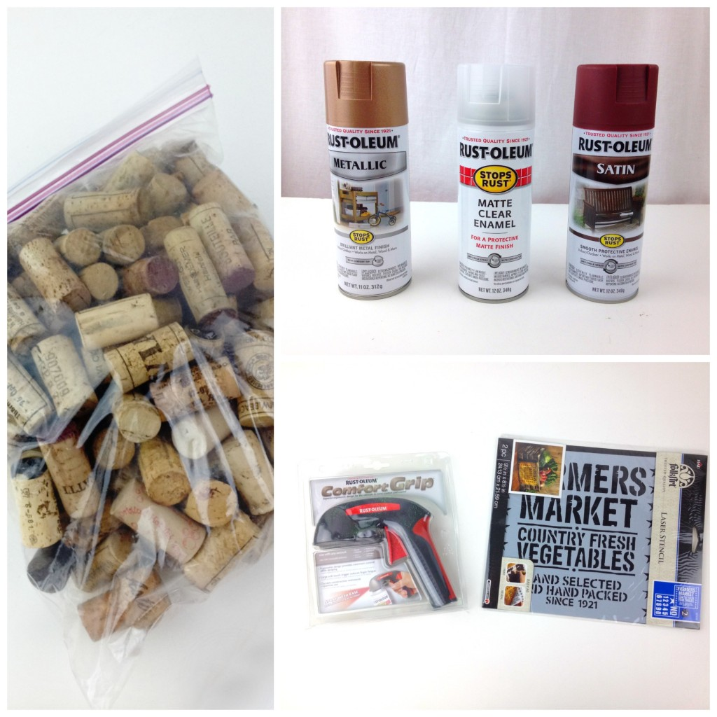 Materials for Rustoleum Cork Corkboard Project