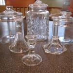 Glass Jars and Candlesticks