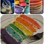 rainbow cake batter and layers
