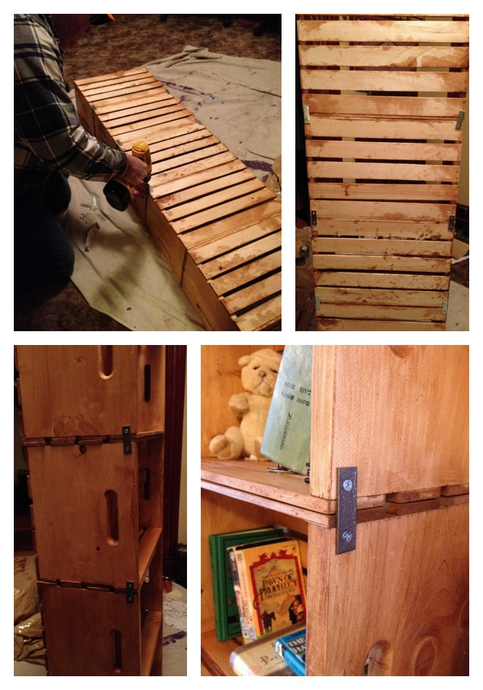 DIY Bookshelf from Unfinished Wooden Crates - Frugal Upstate